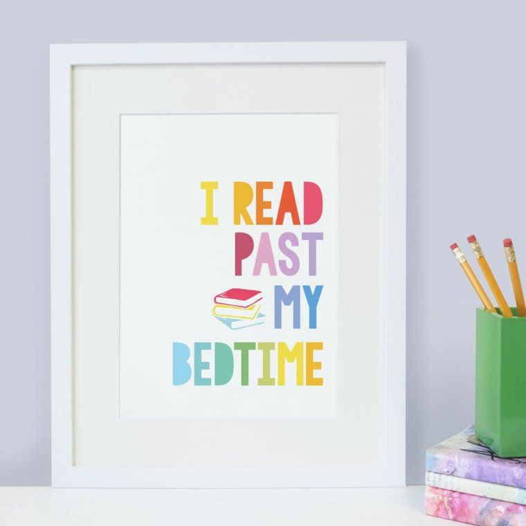 Bookishly_Read_Past_My_Bedtime_Literature_Bookish_Rainbow_Childrens_Scandi_Nursery_Art_Print_White_Frame_1024x1024